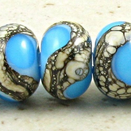 Aqua On Sky Blue Lampwork Glass Beads