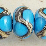 Aqua on Turquoise Lampwork Glass Beads