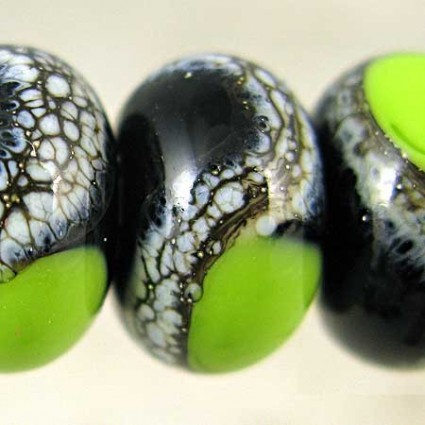 Black And Bright Green Lampwork Glass Beads