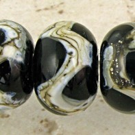 Black Lampwork Glass Beads