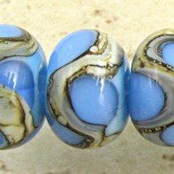 Blue On Sky Lampwork Glass Beads