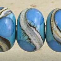 Blue on Turquoise Lampwork Glass Beads