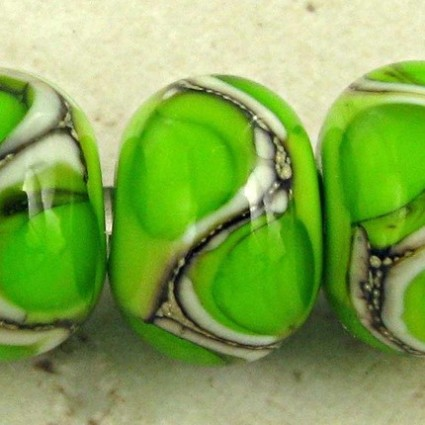 Bright Green Lampwork Glass Beads