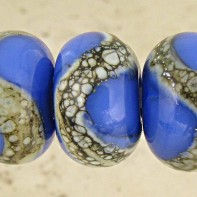 French Blue Lampwork Glass Beads
