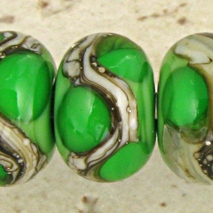 Grass Green Lampwork Glass Beads