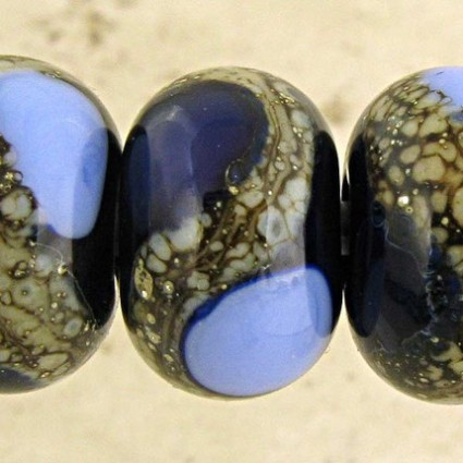 Midnight and Periwinkle Lampwork Glass Beads