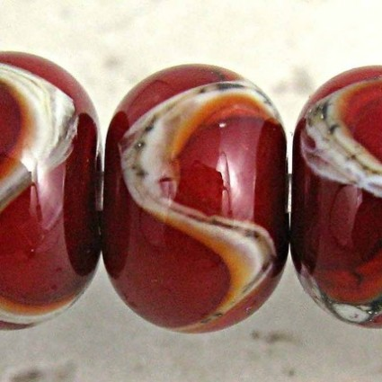Red Lampwork Glass Beads