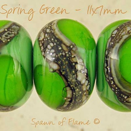 Spring Green Lampwork Glass Beads
