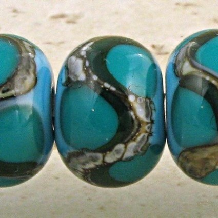 Teal on Turquoise Lampwork Glass Beads