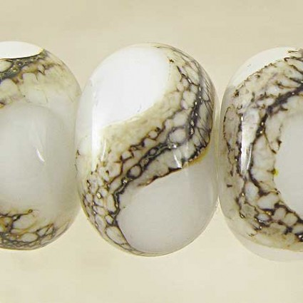 White Lampwork Glass Beads